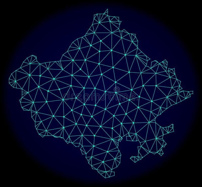 Veelhoekig Draadkader Mesh Vector Abstract Map van de Staat van Rajasthan royalty-vrije illustratie