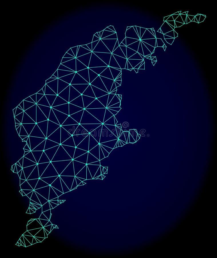 Veelhoekig Draadkader Mesh Vector Abstract Map van het Eiland van Gotland stock illustratie