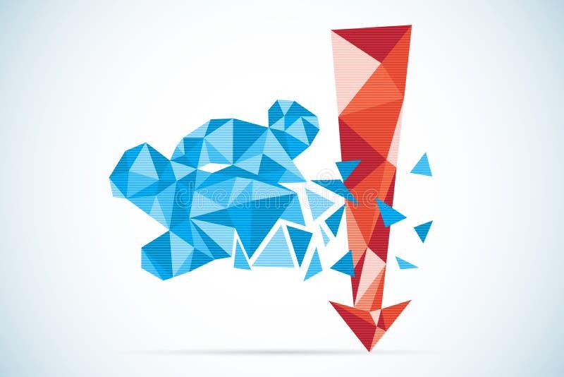 Veelhoekig draag symbool met rood pijl, effectenbeurs en bedrijfsconcept vector illustratie