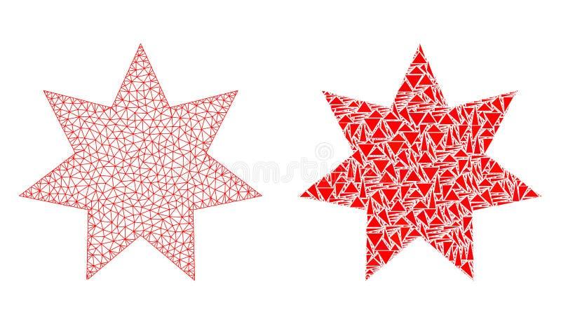 Veelhoekig Karkas Mesh Eight Corner Star en Mozaïekpictogram vector illustratie