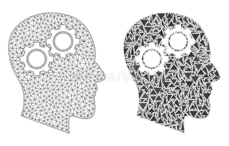 Veelhoekig Karkas Mesh Head Gears en Mozaïekpictogram royalty-vrije illustratie