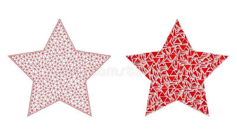 Veelhoekig Karkas Mesh Red Star en Mozaïekpictogram vector illustratie
