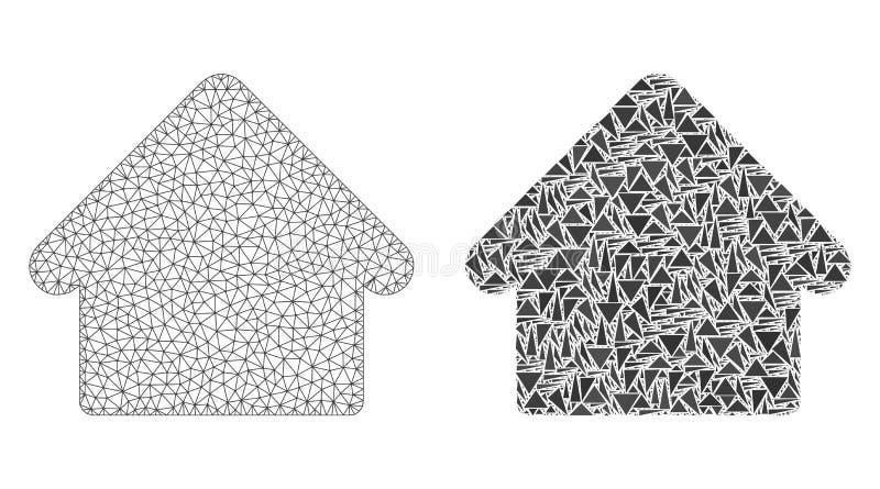Veelhoekig Netwerk Mesh House en Mozaïekpictogram vector illustratie