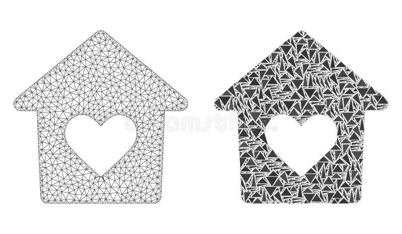 Veelhoekig Netwerk Mesh Lovely House en Mozaïekpictogram stock illustratie