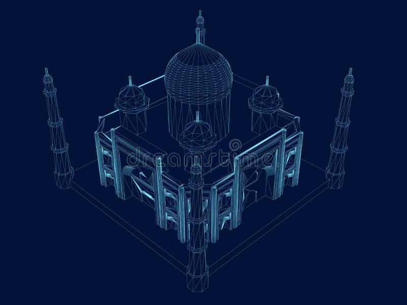 Veelhoekig Taj Mahal wireframe Isometrische mening De oude bouw van blauwe lijnen op een donkere achtergrond Vector royalty-vrije illustratie