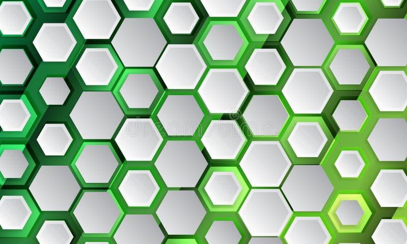 Veelhoekig vormlicht en schaduweffect op de groene achtergrond vector illustratie