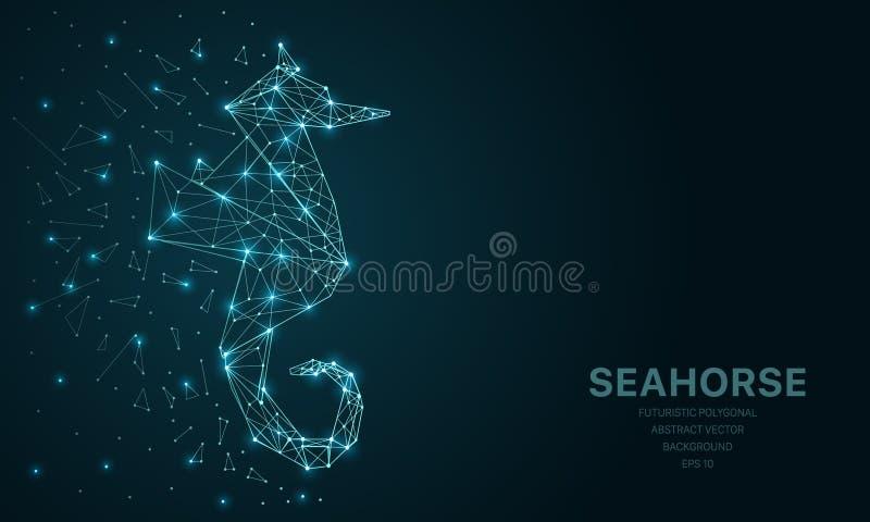 Veelhoekig wireframenetwerk futuristisch met seahorse, teken op donkere achtergrond Vectorlijnen, punten en driehoeksvormen vector illustratie