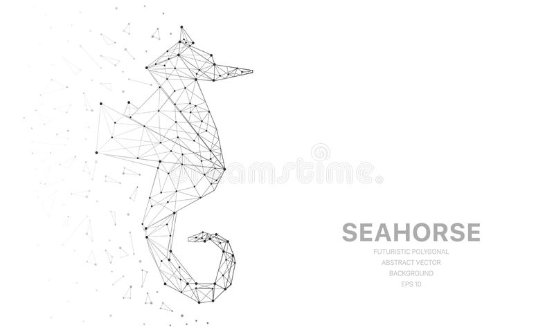 Veelhoekig wireframenetwerk futuristisch met seahorse, teken op witte achtergrond Vectorlijnen, punten en driehoeksvormen vector illustratie