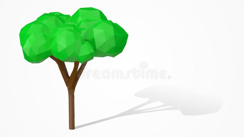 Veelhoekige aardboom Gestileerd laag polyontwerp 3d vectorelement stock illustratie