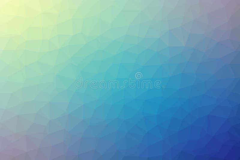 Veelhoekige abstracte geometrische blauwe en gele driehoekige lage polygradiënt vectorillustratie als achtergrond stock foto