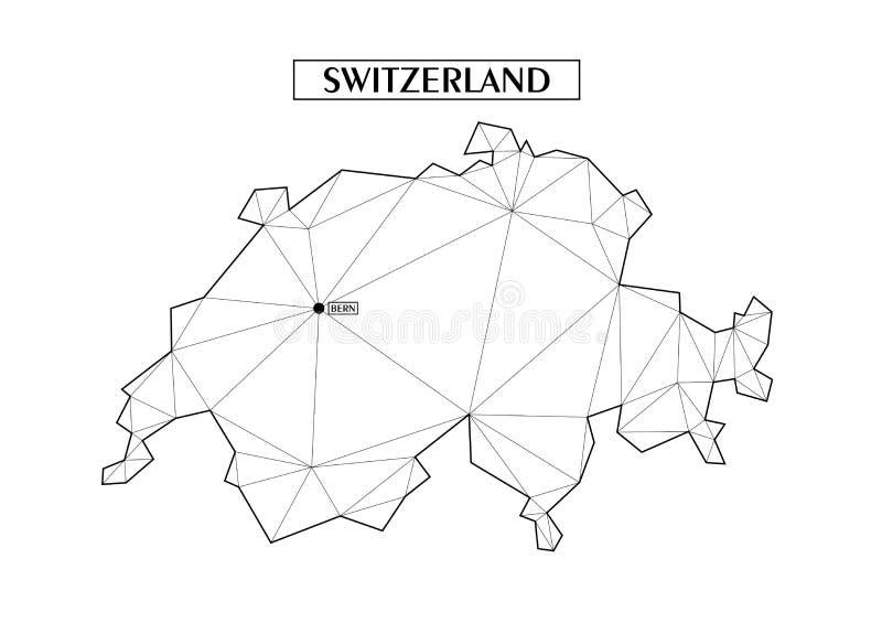 Veelhoekige abstracte kaart van Zwitserland met verbonden driehoekige die vormen van lijnen worden gevormd Hoofdstad - Bern Goede vector illustratie