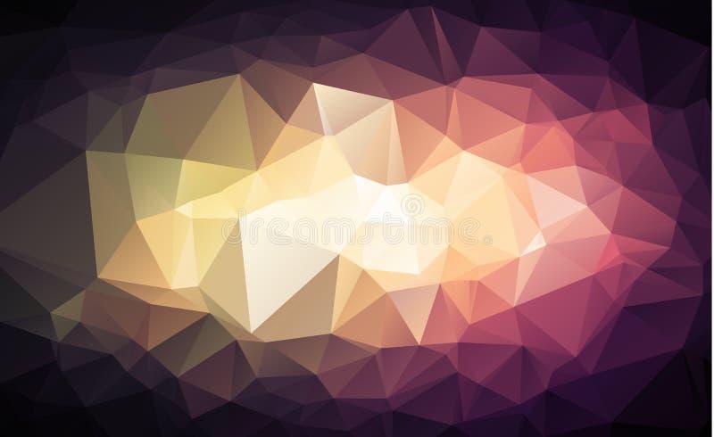Veelhoekige Achtergrond, Licht centrum en donkere toon Creatieve ontwerpmalplaatjes royalty-vrije illustratie