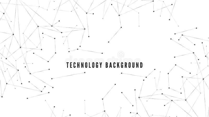 Veelhoekige achtergrond Technologie of wetenschapsontwerp Grote gegevens abstracte structuur Punten en lijnenwebpatroon Vector il stock illustratie