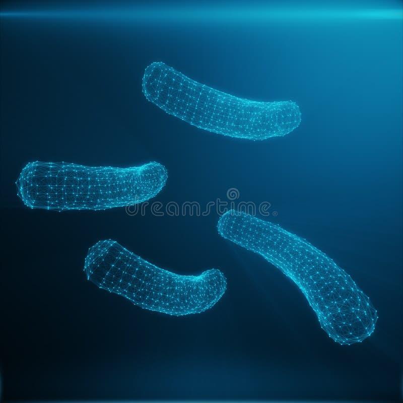 Veelhoekige Bacteriën of Virusconcept Dun lijnconcept Veelhoekige Bestaande Blauwe Punten en Lijnen Blauwe Structuurstijl stock foto