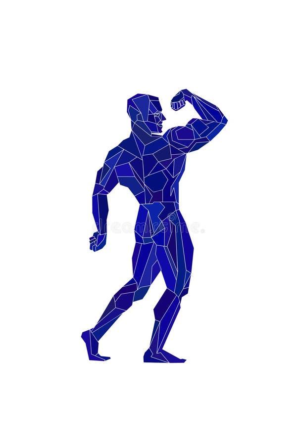 Veelhoekige blauwe bodybuilder, silhouet Vector stock illustratie