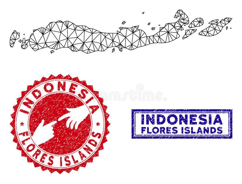 Veelhoekige 2D Flores-Eilanden van van Indonesi? de Kaart en van Grunge Zegels vector illustratie