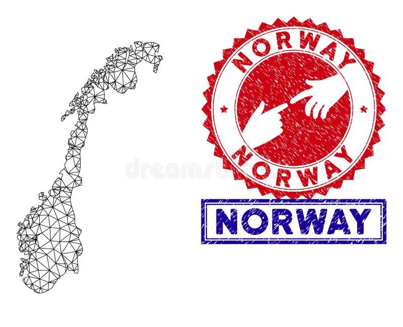 Veelhoekige 2D van Noorwegen de Kaart en van Grunge Zegels royalty-vrije illustratie