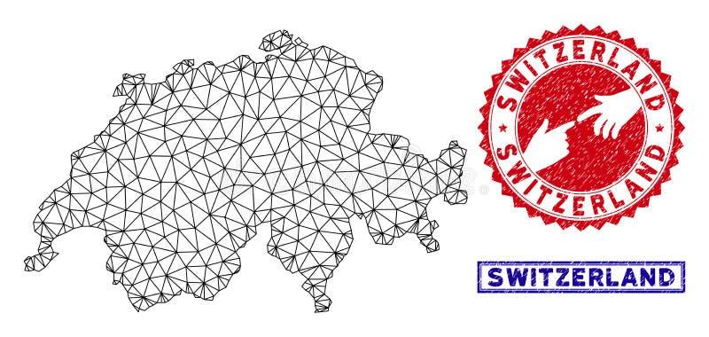 Veelhoekige 2D van Zwitserland de Kaart en van Grunge Zegels stock illustratie