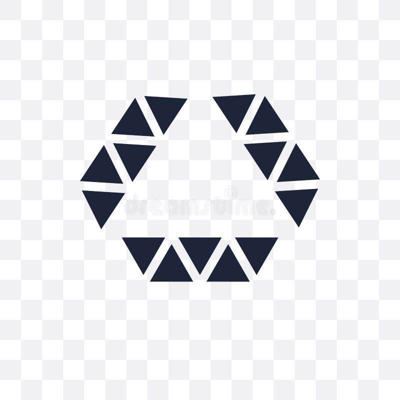 Veelhoekige diamantvorm van klein driehoeken transparant pictogram pol. royalty-vrije illustratie