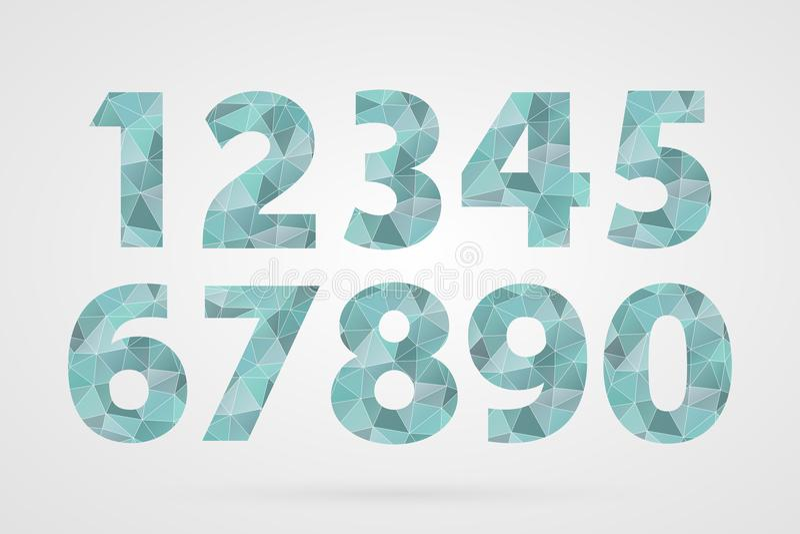 1 2 3 4 5 6 7 8 9 0 veelhoekige geometrische aantallen Decoratieve blauwe geplaatste pictogrammen stock illustratie