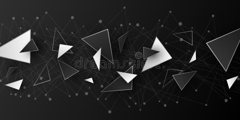 Veelhoekige geometrische vormen Moderne achtergrond voor uw ontwerp lage poly Willekeurige zwart-witte driehoekige vormen Verbond royalty-vrije illustratie