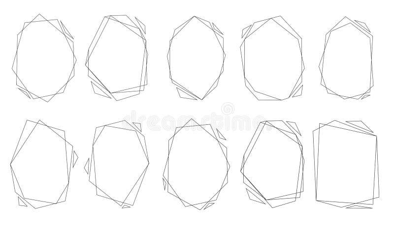 Veelhoekige geplaatste kaders Gouden driehoeken, geometrische vormen royalty-vrije illustratie