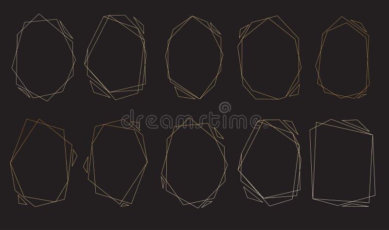 Veelhoekige geplaatste kaders Gouden driehoeken, geometrische vormen stock illustratie