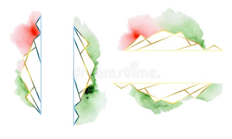 Veelhoekige geplaatste kaders Het goud schittert driehoeken, geometrische vormen Diamantvorm stock illustratie