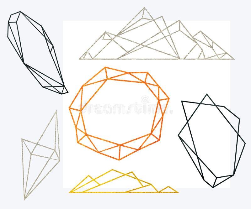Veelhoekige geplaatste kaders Het goud, zilver, zwarte schittert driehoeken, geometrische vormen Diamantvorm stock illustratie