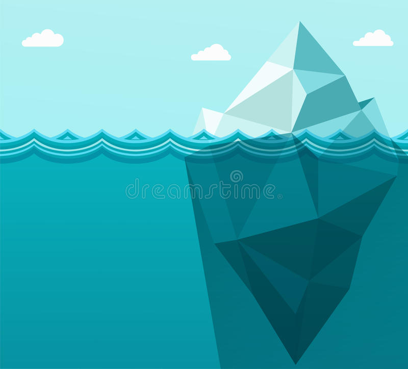 Veelhoekige grote ijsberg in oceaan die in overzeese golven drijven vector illustratie