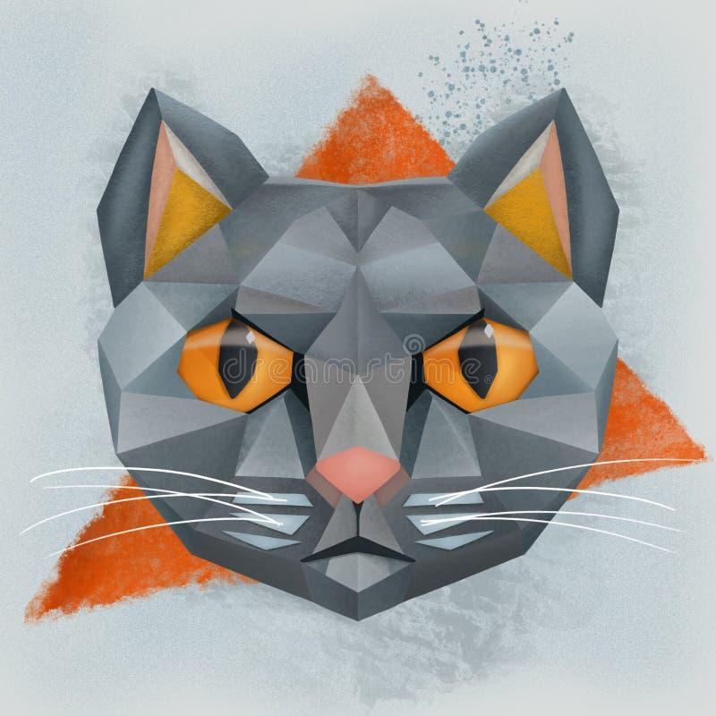 Veelhoekige illustratie van een kat stock fotografie