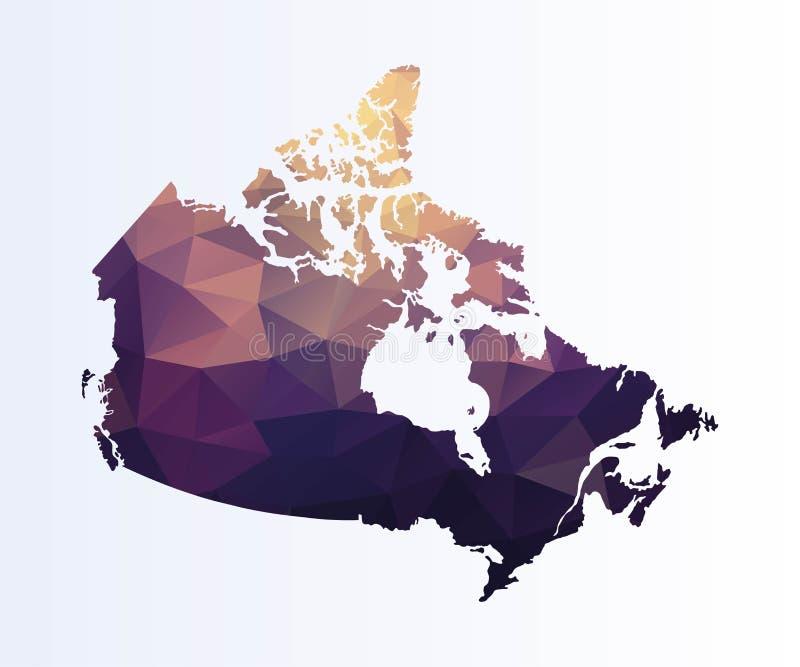 Veelhoekige kaart van Canada royalty-vrije illustratie