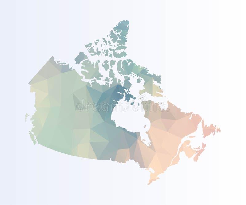 Veelhoekige kaart van Canada stock illustratie