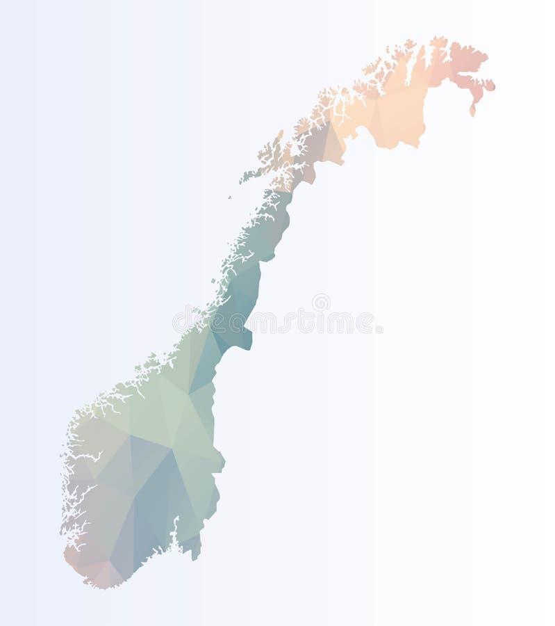 Veelhoekige kaart van Noorwegen vector illustratie