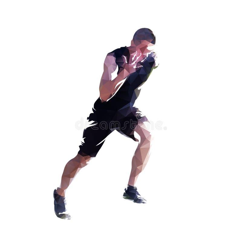 Veelhoekige lopende mens Lage poly vectoragent, zijaanzicht Colorf royalty-vrije illustratie