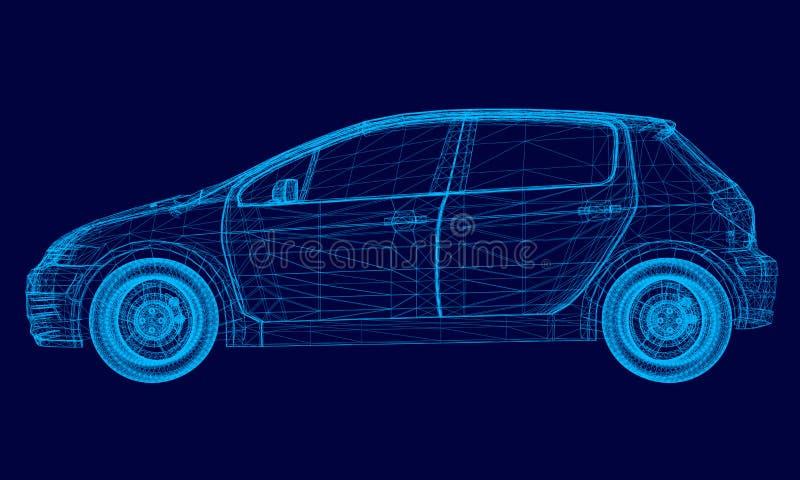 Veelhoekige machine van blauwe lijnen op een donkere achtergrond Auto wireframe Zachte nadruk 3d Vector illustratie vector illustratie