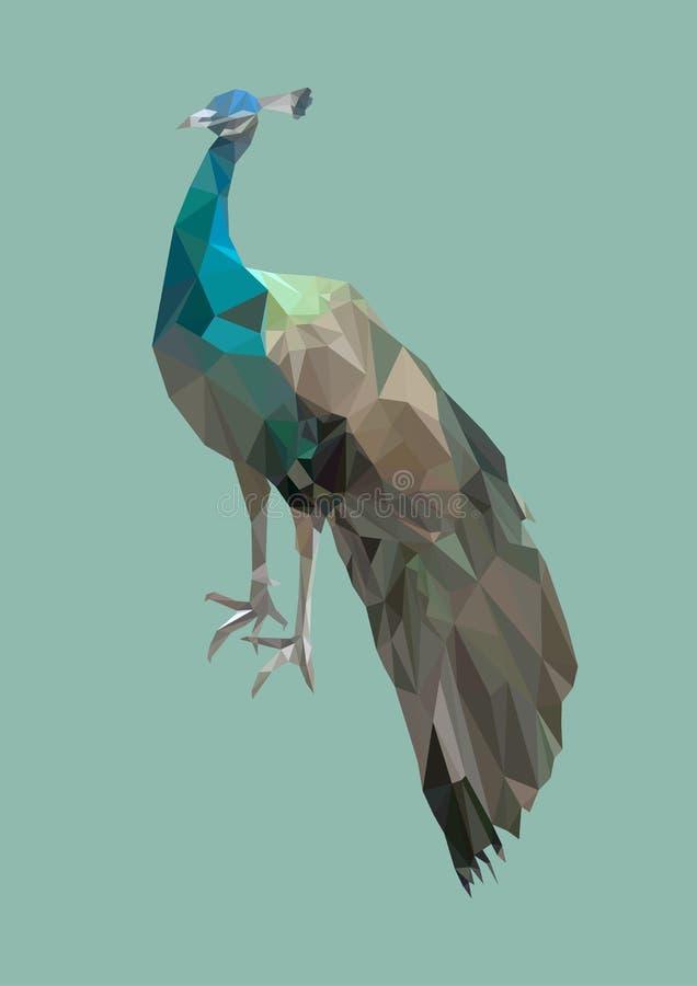 Veelhoekige pauwvogel, poly laag abstract dier, vector vector illustratie