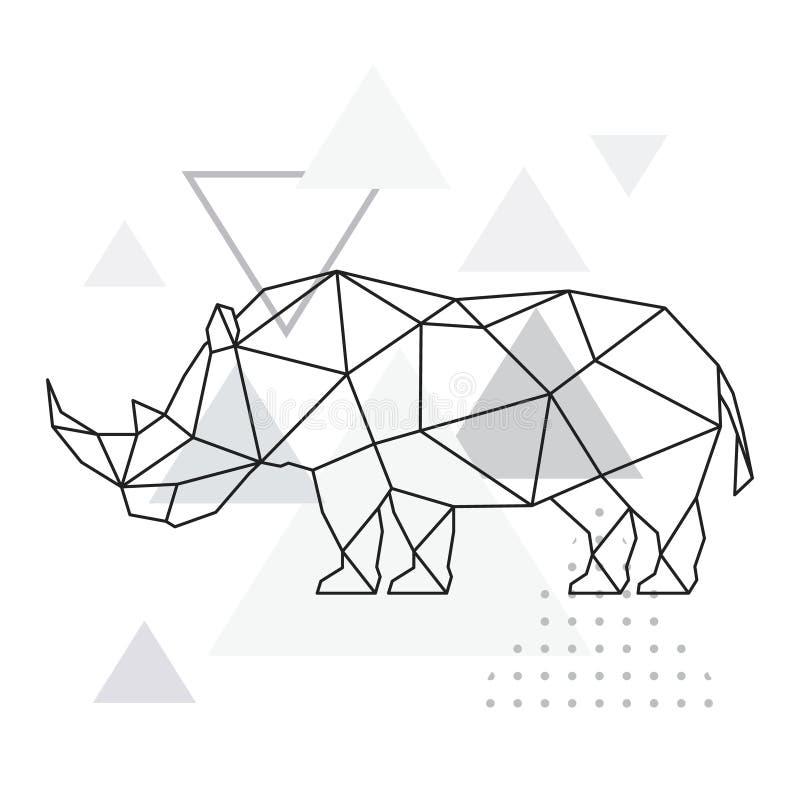 Veelhoekige rinoceros op abstracte achtergrond met driehoeken vector illustratie