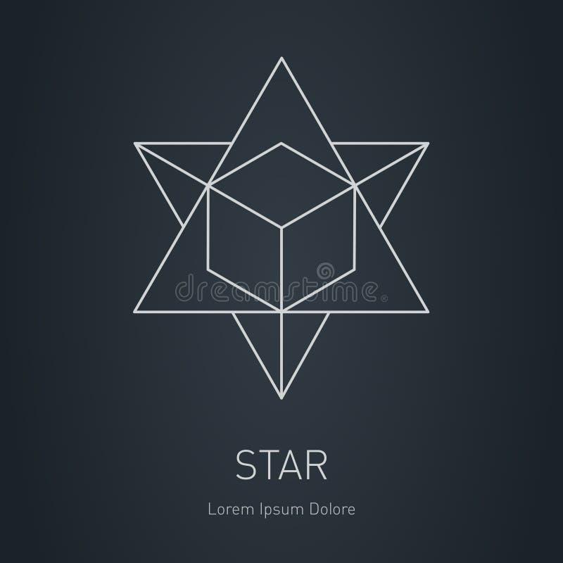 Veelhoekige Ster met binnen kubus, Modern modieus embleem Ontwerp ele royalty-vrije illustratie