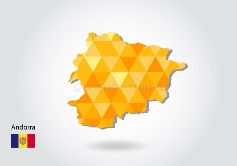 Veelhoekige stijl vectorkaart van Andorra vector illustratie