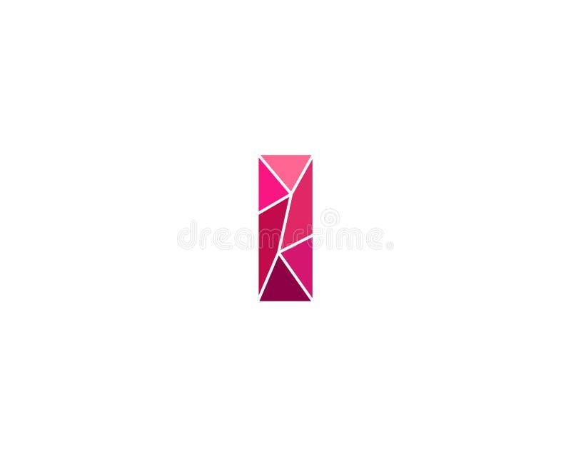 Veelhoekige tendensbrief I logotype Kleuren vectorembleem Universeel het elementensymbool van de segmentdoopvont stock illustratie