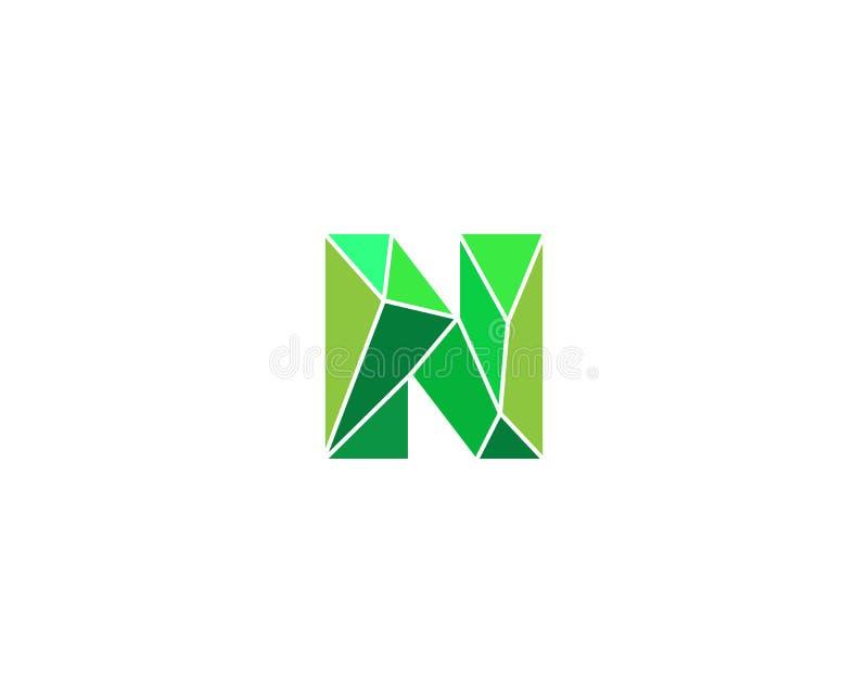 Veelhoekige tendensbrief n logotype Kleuren vectorembleem Universeel het elementensymbool van de segmentdoopvont vector illustratie
