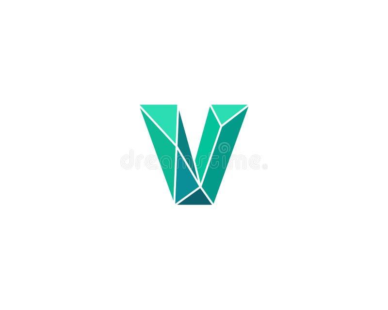 Veelhoekige tendensbrief v logotype Kleuren vectorembleem Universeel het elementensymbool van de segmentdoopvont vector illustratie