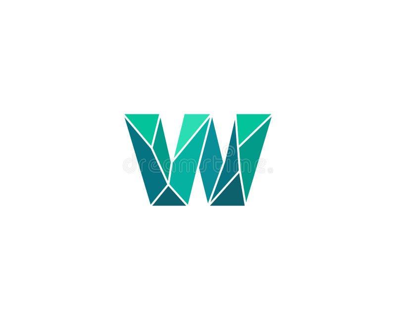 Veelhoekige tendensbrief w logotype Kleuren vectorembleem Universeel het elementensymbool van de segmentdoopvont royalty-vrije illustratie
