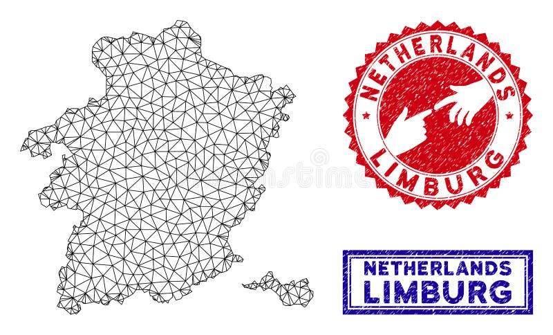 Veelhoekige van de Provinciekaart en Grunge van Karkaslimburg Zegels stock illustratie