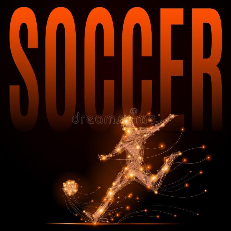 Veelhoekige voetballer stock illustratie
