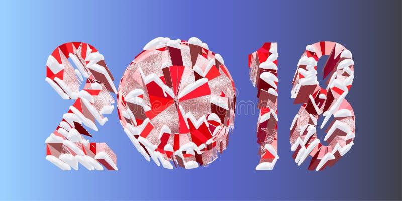 Veelhoekige volumetrische kalendernummer 2018 geïsoleerd op blauwe achtergrond Kerstmis, Gelukkige Nieuwjaar futuristische 3D ill stock illustratie