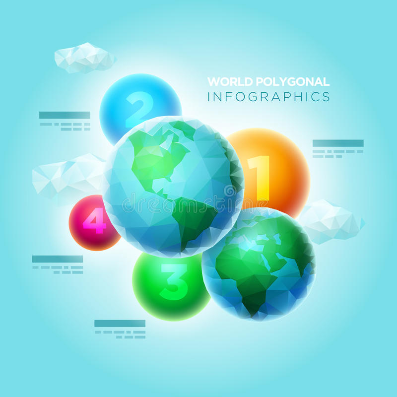 Veelhoekige Wereld Infographic royalty-vrije illustratie