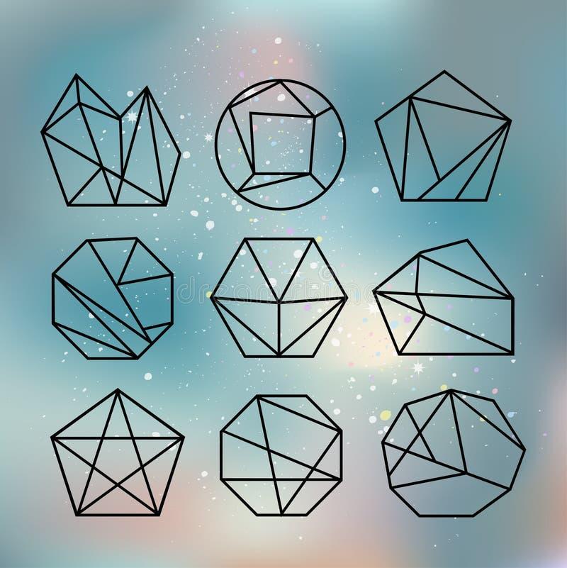 Veelhoekstijl met geometrische vormen in retro stijl vector illustratie