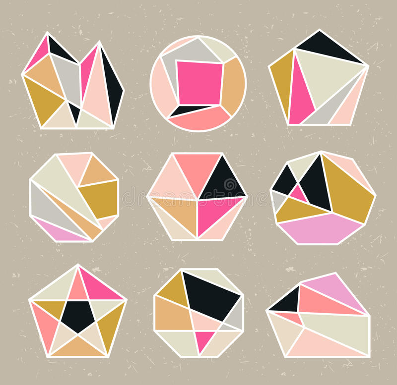 Veelhoekstijl met geometrische vormen in retro stijl royalty-vrije illustratie